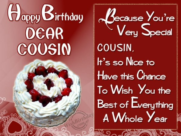 Special Birthday Wishes To Special Cousin - WishBirthday.com