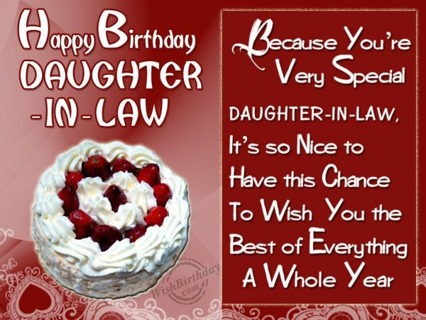 Wishing Special Birthday To My Special Daughter-In-Law