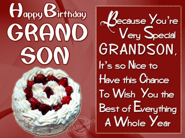 Wishing Special Birthday To My Special Grandson