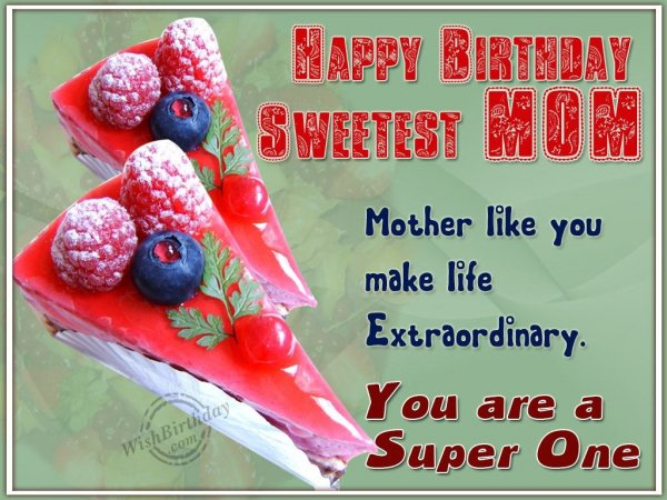 Happy Birthday World's Sweetest Mother - WishBirthday.com