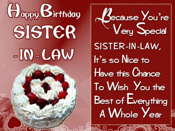 Special Birthday Wishes For Special Sis-In-Law