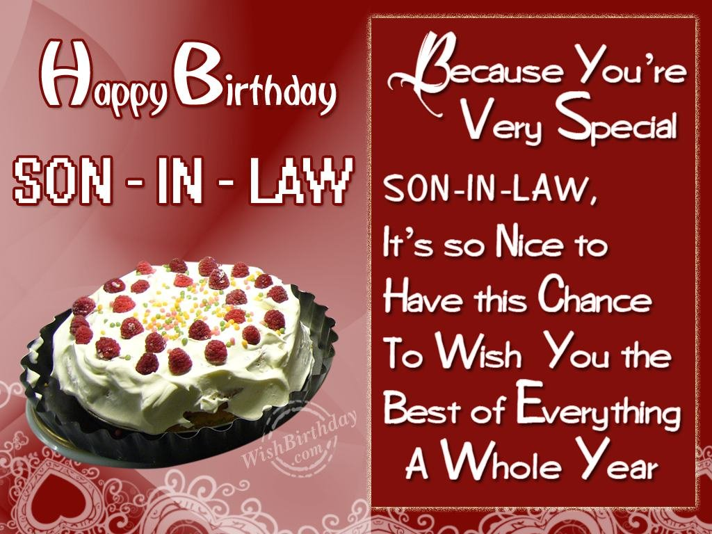 Special Birthday Wishes For Son In Law