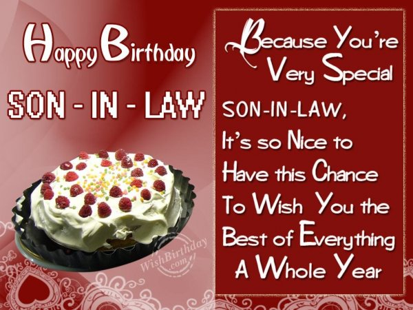 Special Birthday Wishes For Special Son-In-Law