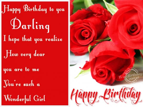 Happy Birthday Darling - WishBirthday.com