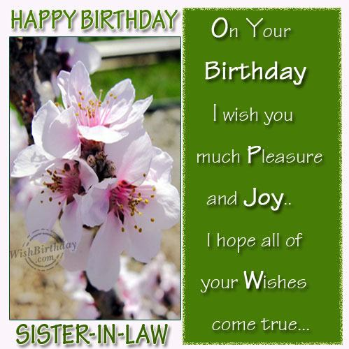 Wishing Happy Birthday To Caring Sister-in-law
