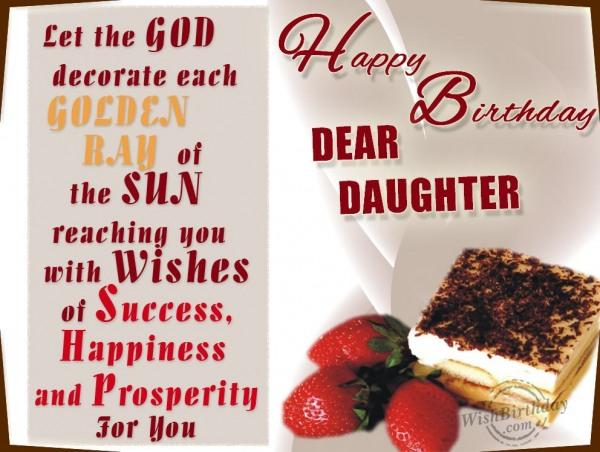 Wishing Happy Birthday To Caring Daughter