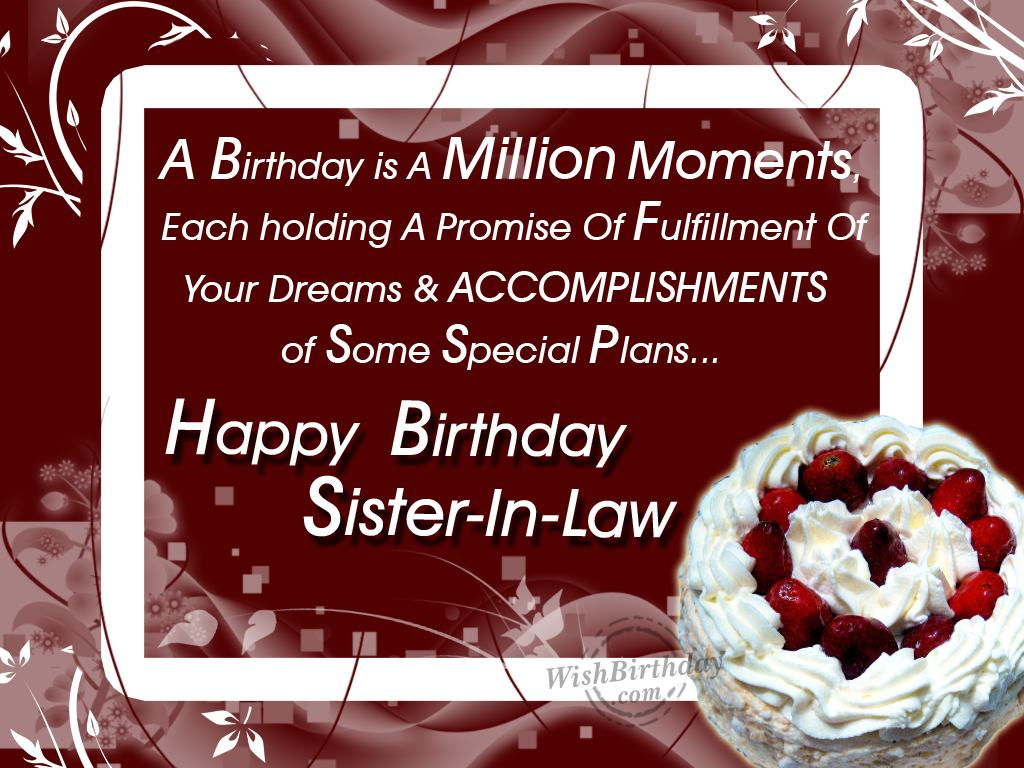 Birthday Wishes For Sister In Law - Birthday Images, Pictures