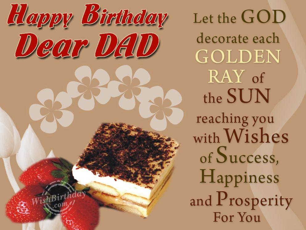 Many Happy Returns Of The Day Dearest Dad WishBirthday – Birthday Greeting Dad