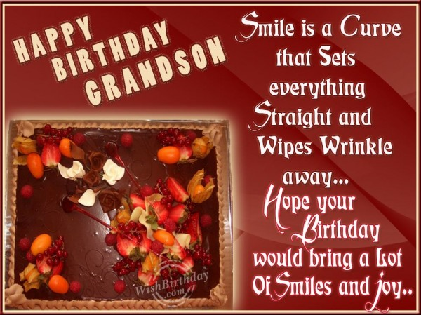 Many Happy Returns To My Caring Grandson - WishBirthday.com