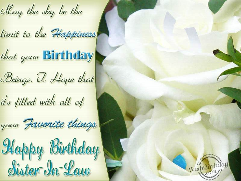 Happy birthday wishes sister in law : Happy birthday to a lovely sister in law wishbirthday