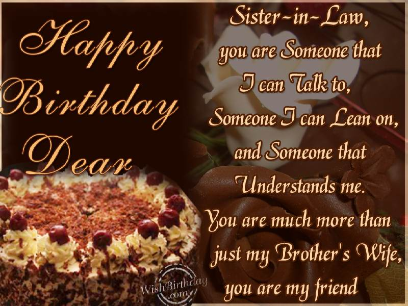 Happy Birthday To Sister In Law Wishbirthday Com