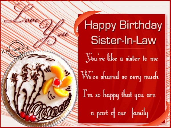 You Are A Part Of Our Family,Sister-in-law
