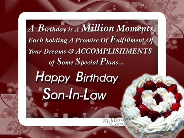 Wishing The Happiest Birthday To The Dearest Son-in-law