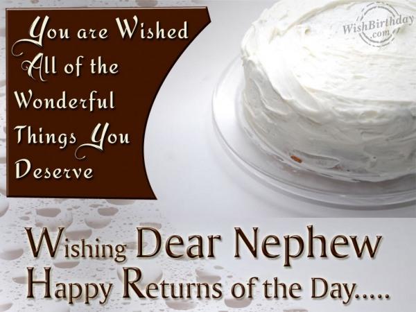 Wishing Dear Nephew Happy Returns Of The Day...