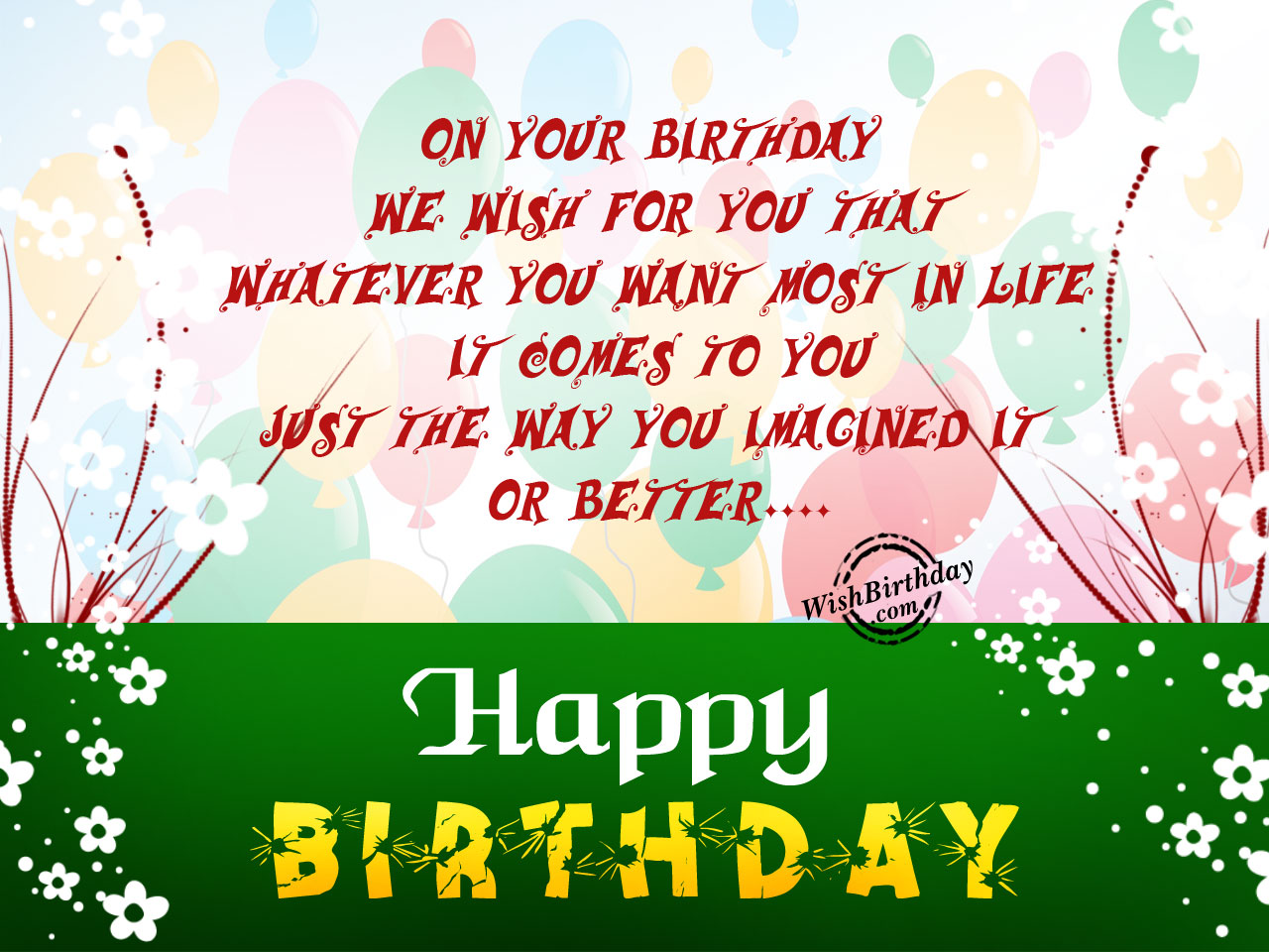 Happy Birthday Message Bangla ~ Birthday wishes with balloons images pictures