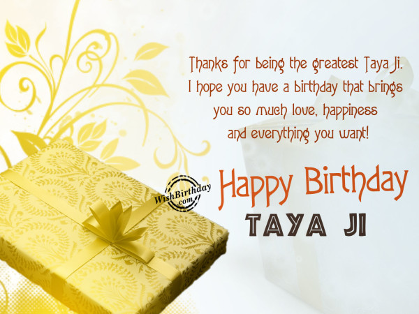 Taya ji , Wishing you happy birthday