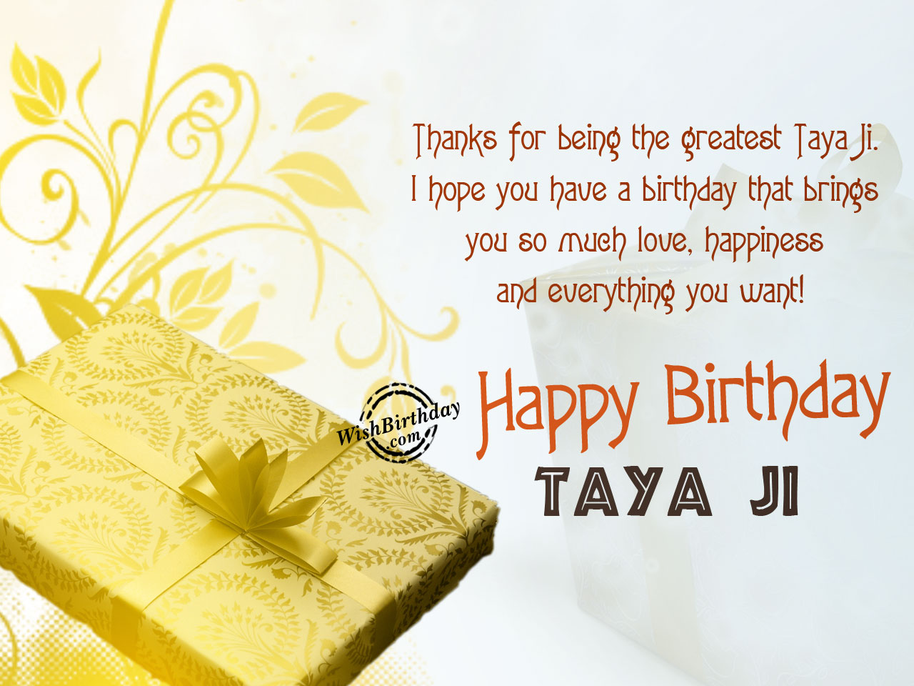 Taya ji , Wishing you happy birthday - WishBirthday.com
