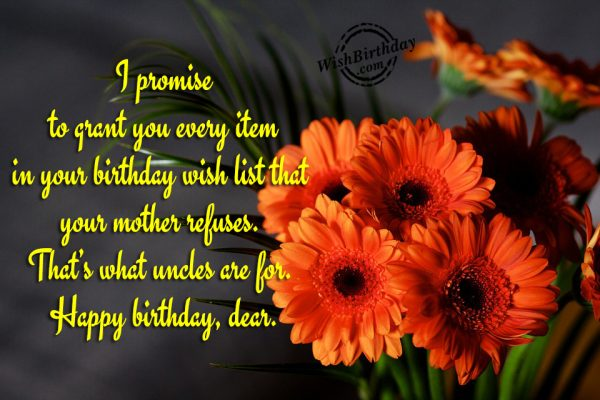 I Promise To Grant You Every Item In Your Birthday