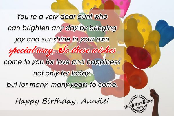 You Are A very Dear Aunt Who Can Brighten Any Day-wb124