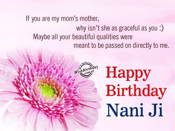 You are my mom's mother,Happy Birthday Nani Ji